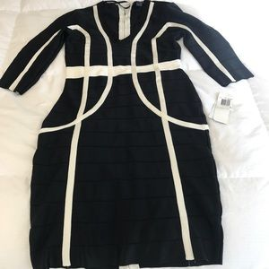 French Connection black/white banded dress sz 10.